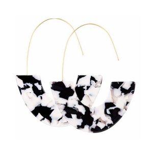 Jewelry - Black White Acrylic Half Circle Wire Hoop Earrings